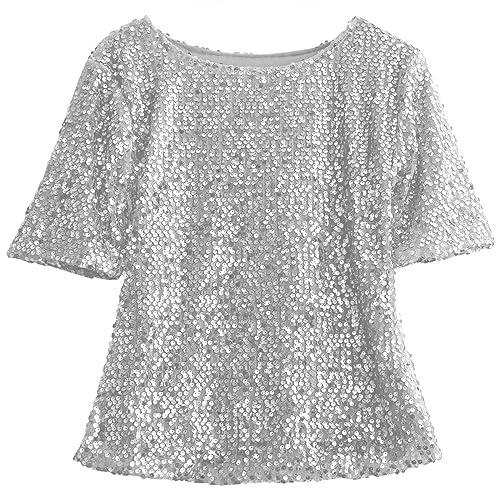 83d6755d0bbef Fairviewer Women Short Sleeve Sequins Embellished Sparkle Tunic Blouse  Shirts Tops