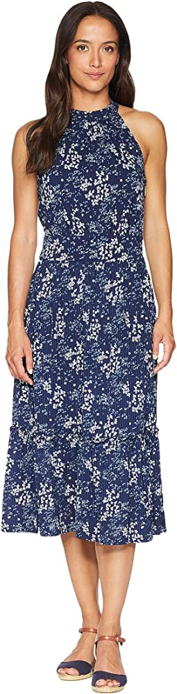 Scatter Blooms Print Tier Midi Dress