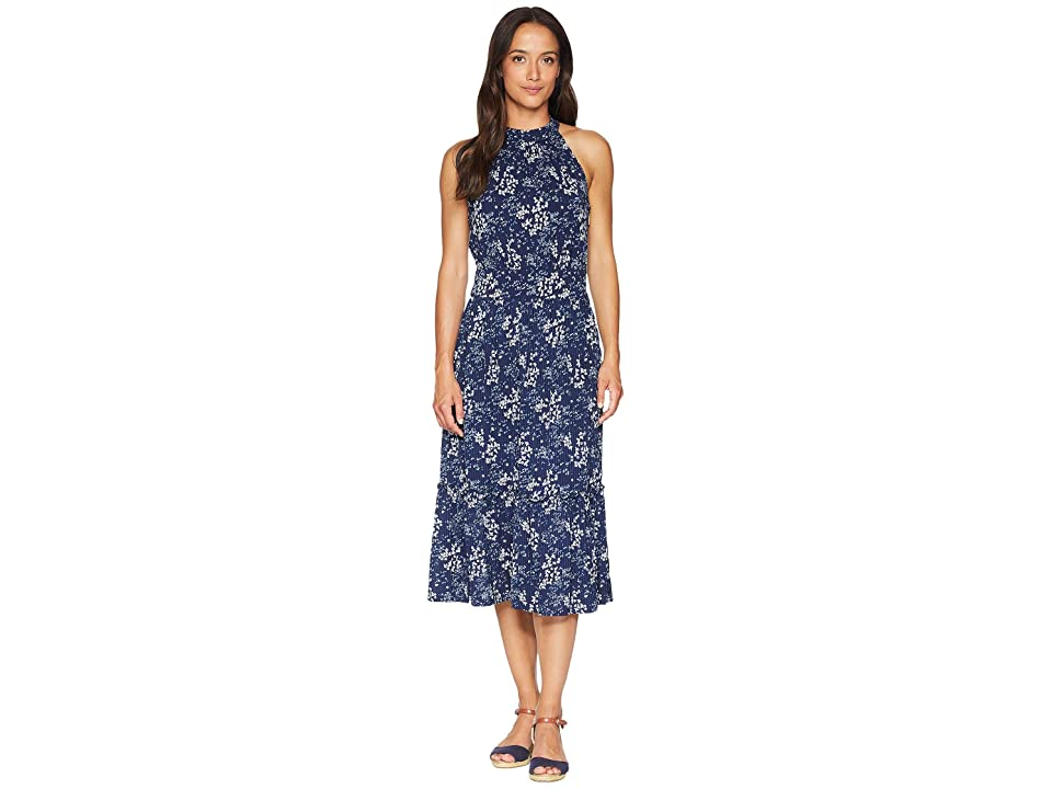MICHAEL Michael Kors Scatter Blooms Print Tier Midi Dress (True Navy/Light Chambray) Women