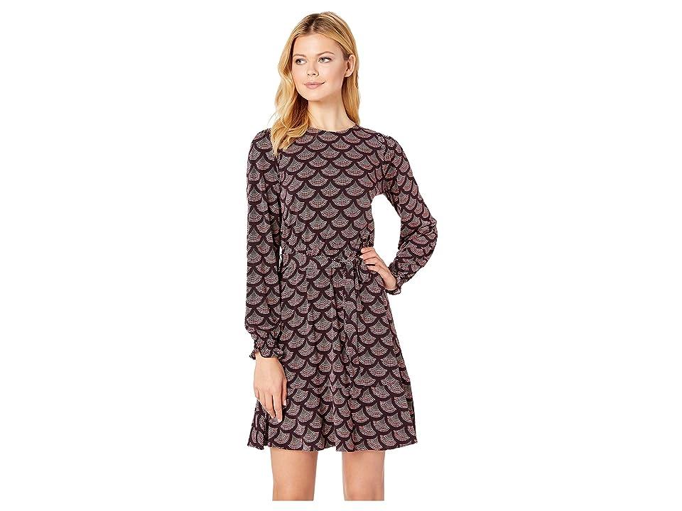 MICHAEL Michael Kors Chandeleir Smocked Long Sleeve Dress (Cordovan) Women