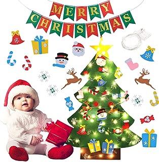 B bangcool DIY Felt Christmas Tree 26Pcs Christmas Gifts for Kids 3.2ft Wall Hanging Christmas Ornaments for Kids Christmas Wall Decorations (Felt Christmas Tree+Merry Christmas Banner)