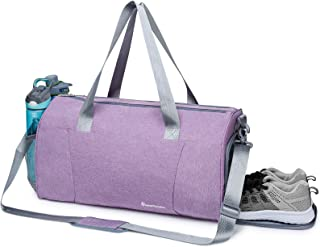 Sports Gym Bag with Wet Pocket & Shoe Compartment Fitness Workout Bag for Men and Women, Purple