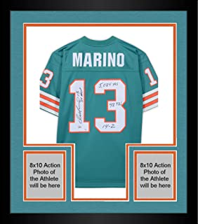 Framed Dan Marino Miami Dolphins Autographed Mitchell & Ness Teal Replica Jersey with Multiple 1984 Season Stat Inscriptions - Limited Edition of 13 - Fanatics Authentic Certified
