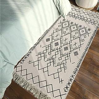 Boho Rug Runner, Black White Bathroom Rug, Farmhouse Cotton Woven Small Tassels Fringe Area Rug for Kitchen Laundry Bedroo...