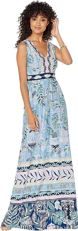 Blue Peri Lapis Lanterns Engineered Maxi Dress