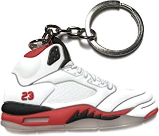 3e7cd8cbcf7244 Air Jordan Retro 5 White Red Black Shoe Keychain Collectable