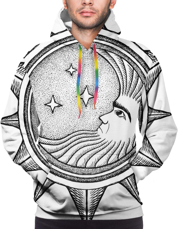 Men's Hoodies Sweatshirts,Moon and Stars Over Santa Barbara Channel Infinity Foggy Pacific Ocean