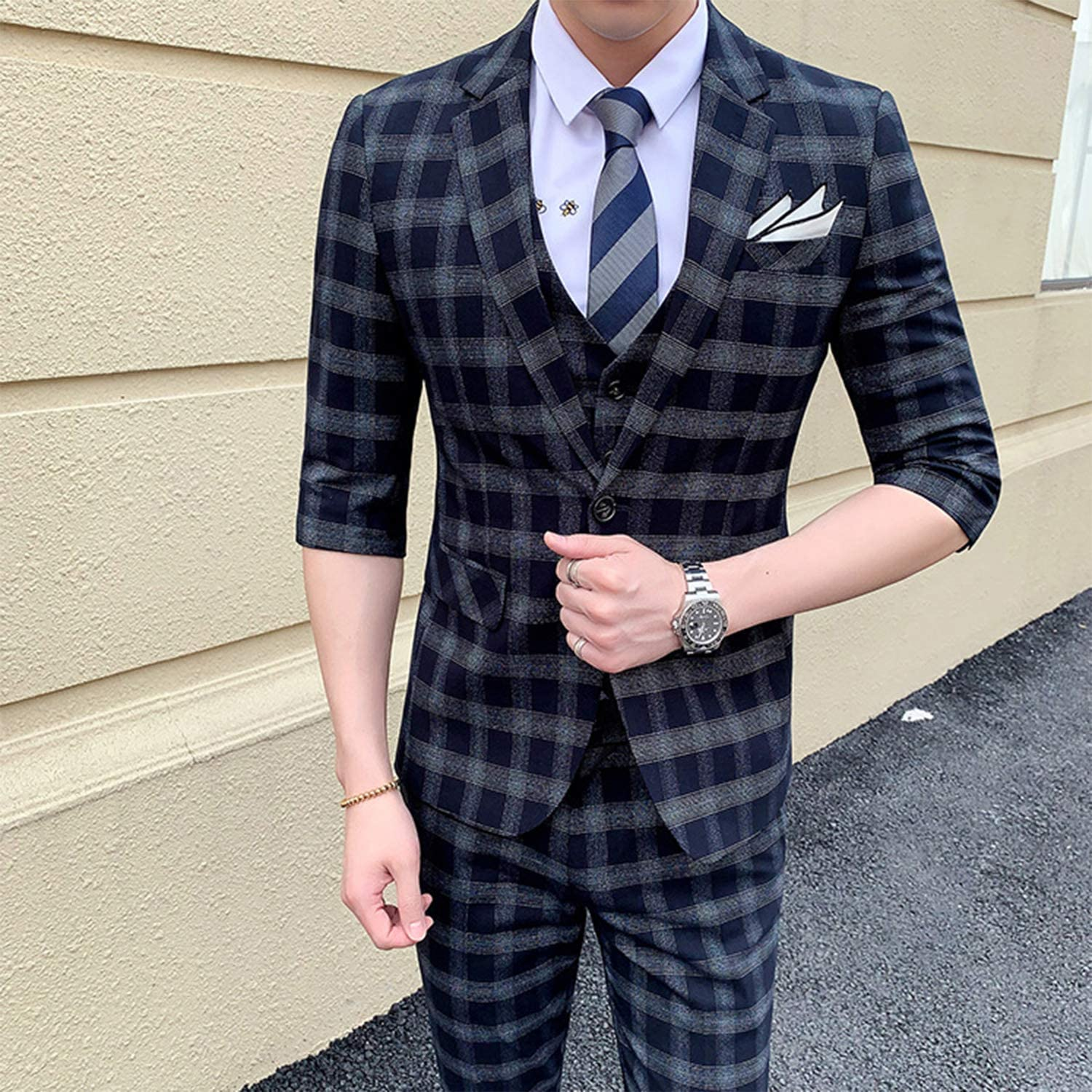 Men's Summer Suits Set Middle-Sleeved Plaid Suit Gentleman British Style 3 Piece Party Suits Tailored
