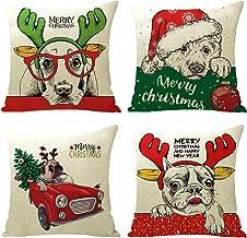 ALAIX Merry Christmas and Christmas Tree Decorations Cotton Linen Winter Deer Pillow Covers Set of 4 Christmas Decor Throw...