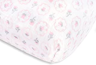 SwaddleDesigns Cotton Muslin Crib Sheet, Pastel Pink Posies