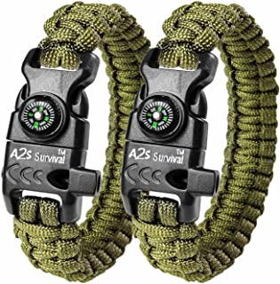 A2S Protection Paracord Bracelet K2-Peak - Survival Gear Kit with Embedded Compass, Fire Starter, Emergency Knife & Whistl...