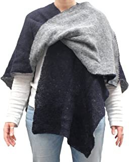 Mantella double face poncho aperto scialle fatto a maglia col. Blu e Grigio fatto in Italia Made in Italy