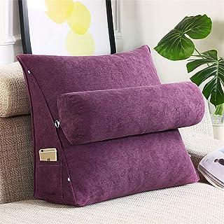 SWECOMZE Cojín de respaldo con cojín cervical extraíble y bolsillo lateral, cojín de apoyo para la espalda con cojín cervical, funda lavable para sofá, sofá, silla de oficina (lila, 45 x 45 x 20 cm)