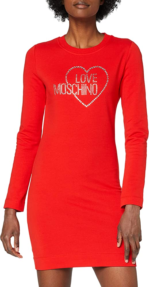 Love moschino long sleeve fleece dress_heart and logo studs, abito casual per donna, in cotone stretch W 5 C00 01 E 2204