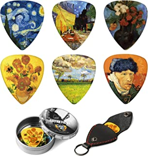 Dulphee Guitar Picks Vincent Van Gogh Picks Medium 12 Pack with Thin Box, Genuine Leather Picks Holder - Special Guitar Plectrums Gift Set for Guitarist