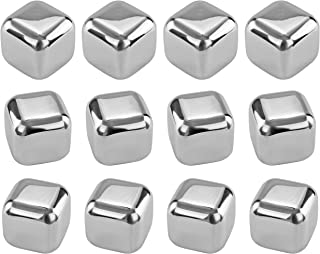 Southern Homewares Stainless Steel Chilling Ice Cubes Reusable For Whiskey Wine Beverage Set of 12