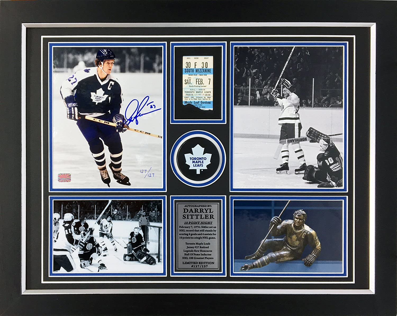Darryl Sittler Signed 10Point Record Game Ltd Ed 127 127  TO Maple Leafs