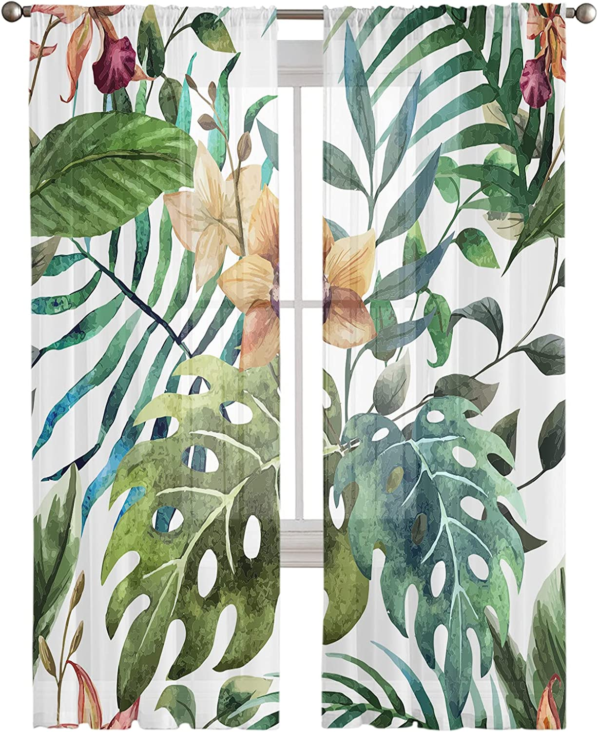 All items free shipping Sheer Curtains 63 Inches Length 2 Reservation Semi Leaf Tropcial Sh Panels