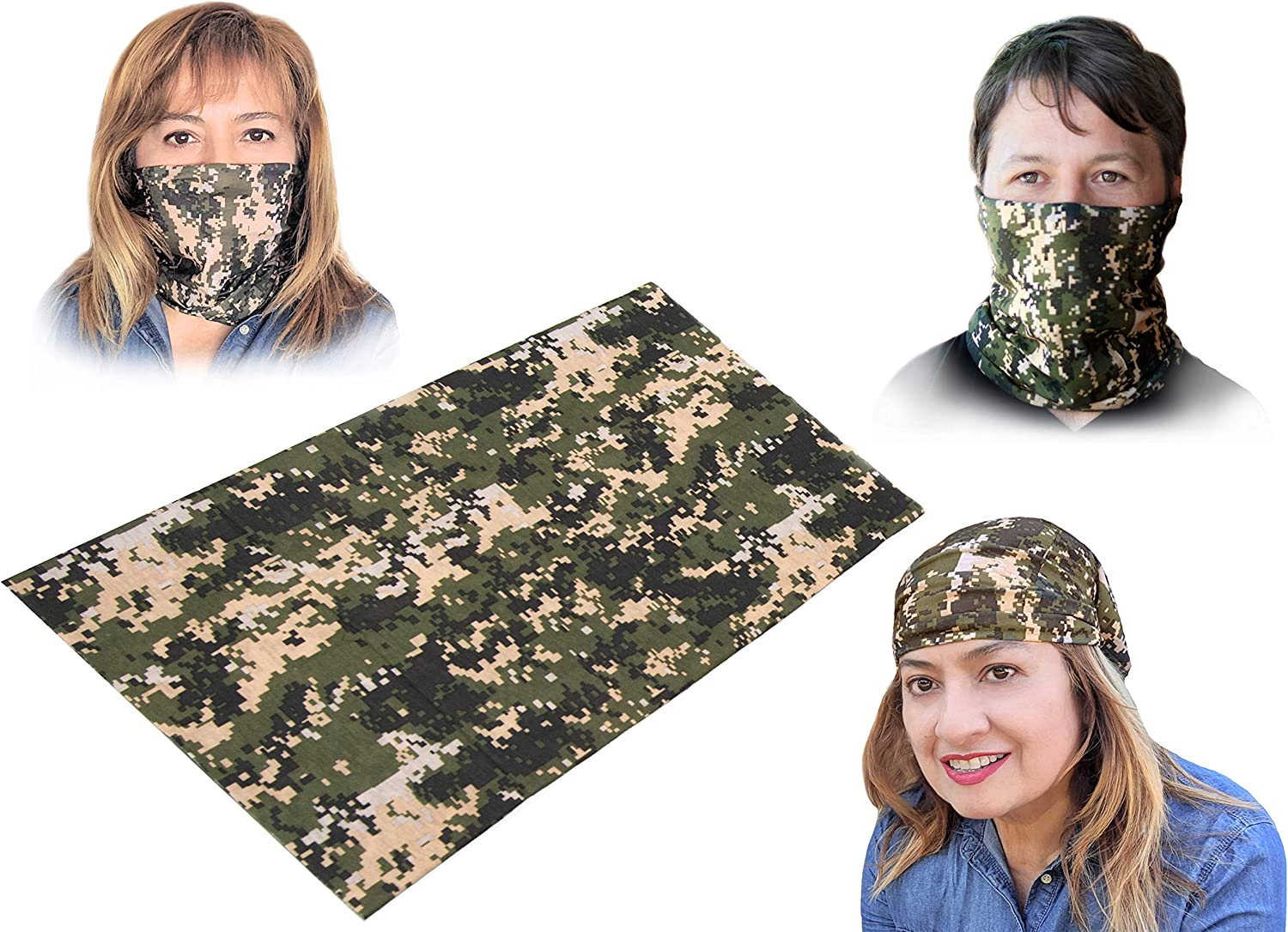 Green Camo Reusable Bandana Face Mask, Washable Neck Gaiter Breathable Face Cover, Ideal For Women & Men For Running, Cycling, Snowboarding, Sun And Dust Protection