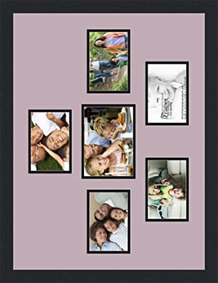 Art to Frames Double-Multimat-517-805//89-FRBW26061 Collage Frame Photo Mat Double Mat with 5-4x6 and 1-5x7 Openings and Espresso Frame