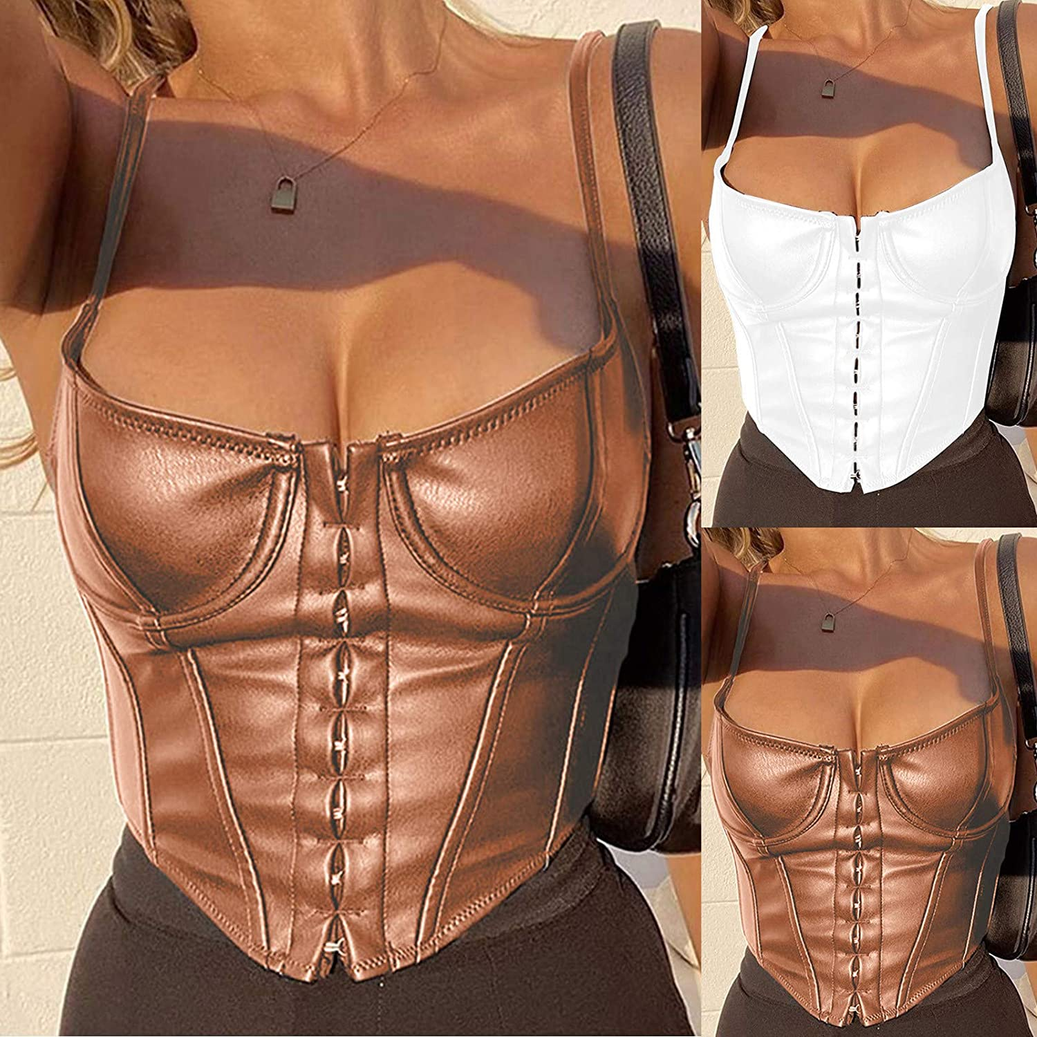 AODONG Crop Top Tank Tops for Women Sexy,Leather Top Spaghetti Straps Bustier PU Corsets Backless Bra Lingerie Camis