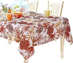YEMYHOM 100% Polyester Spillproof Tablecloths for Rectangle Tables 60 x 104 Inch, Modern Printed Indoor Outdoor Camping Picnic Rectangular Table Cloth (Red Tree)