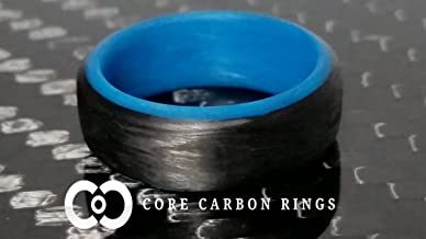Men's or Women's Carbon Fiber Blue Glow Ring - Handcrafted - Black Band with Glowing Interior - Custom Band widths