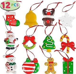 "JOYIN 2"" Handmade Christmas Mini Ornaments Set of 12 – Santa Claus, Snowman, Reindeer, etc, Handmade Polymer Clay Ornaments Treasure Set for Christmas Tree Decorations"
