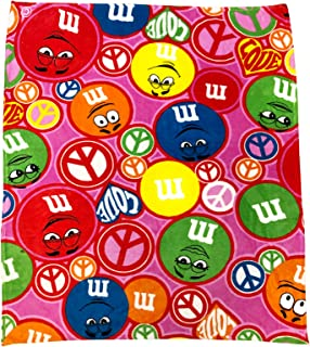 M & M' S Groovy Pink Throw Blanket Love Peace and M & M'S
