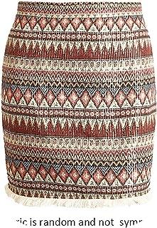 Vintage Pencil Skirt Women Bottom Boho Chic Tassels Ethnic Mini Skirt Female high Waist Short Skirt