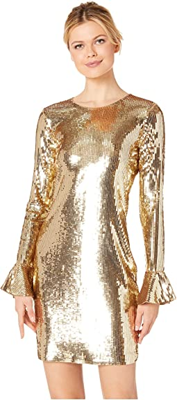 Sequin Flounce Sleeve Dress