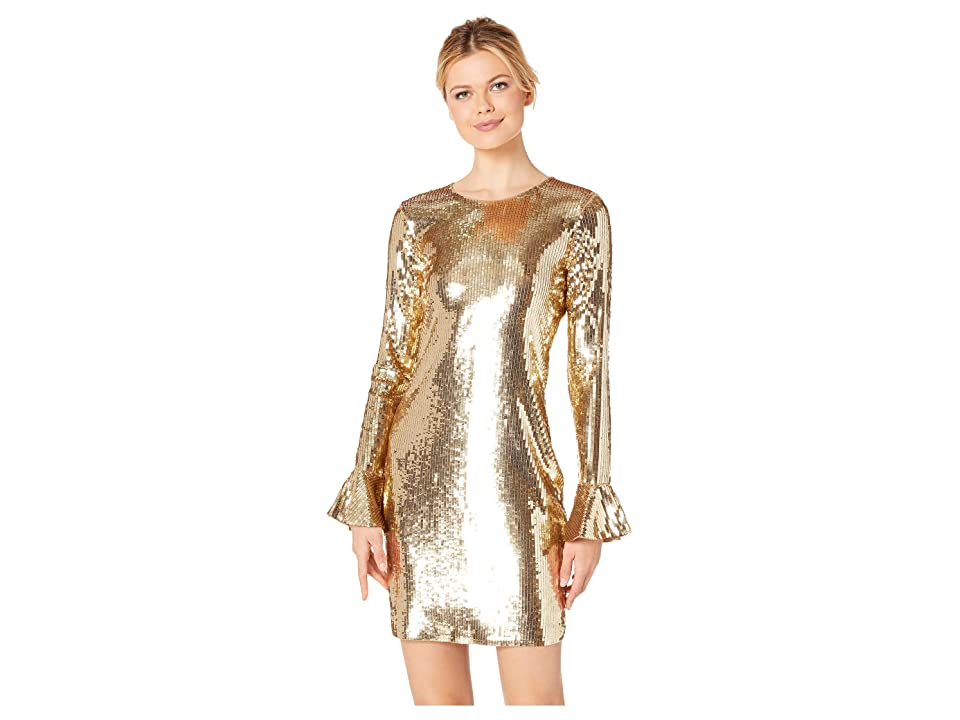 MICHAEL Michael Kors Sequin Flounce Sleeve Dress (Dark Camel) Women