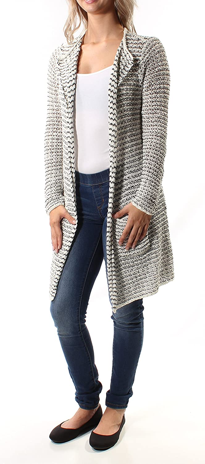 Maison Jules 6552 Womens B w Striped Textured Cardigan Sweater Top White S