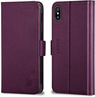 AZOFO iPhone X Wallet Case, iPhone 10 Case, Genuine Cowhide Leather Case, Slim Flip Cover Folio Book Style, Card Holder Slots, Magnetic Clousure, Kickstand, Gift Package Compatible iPhone X, Purple