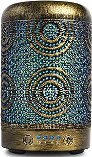 SALKING Aroma diffuser, 100ml metalen ultrasone aromatherapie diffuser voor etherische oliën, 7 kleuren nachtlampje aromad...