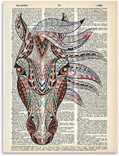 Upcycled Dictionary Art - Native American Horse Head - 8.5x11 Unframed Dictionary Art - Great Inspiring Gift Under $20