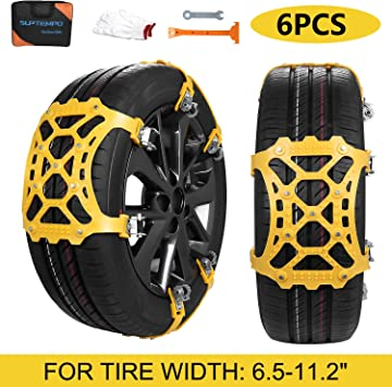 SUPTEMPO Car Snow Chains, 6Pcs Emergency Anti Slip Tire Traction Chains Upgraded TPU Snow Chain for Light Truck/SUV/ATV Winter Universal Tire Security Chains (Tire Width 165-285mm/6.5-11.2''): image