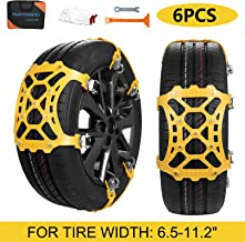 SUPTEMPO Car Snow Chains, 6Pcs Emergency Anti Slip Tire Traction Chains Upgraded TPU Snow..