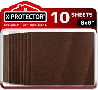 "Felt Furniture Pads X-PROTECTOR 10 Pack Premium 8""x6"" Heavy Duty 1/5"" Felt Sheets! Cut Furniture Felt Pads for Furniture F..."