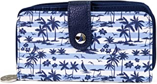 Nautica Be Shore Womens Wallet RFID Blocking Zip Around Clutch (Island Stripe)