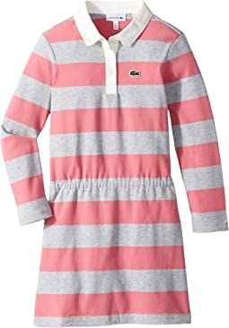 Lacoste Kids - Long Sleeve Stripe Chine Polo Dress (Toddler/Little Kids/Big Kids)