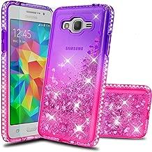 Atump Galaxy Grand Prime Phone Case J2 Prime Cases with HD Screen Protector, Fun Glitter Liquid Diamond Cute TPU Silicone Protective Cover Case for Samsung Galaxy J2 Prime G530 Purple/Rose
