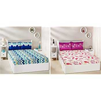 Amazon Brand - Solimo Abstract Waves 144 TC 100% Cotton Double Bedsheet with 2 Pillow Covers, Green + Lily Bloom 144 TC 100% Cotton Double Bedsheet with 2 Pillow Covers, Pink Combo