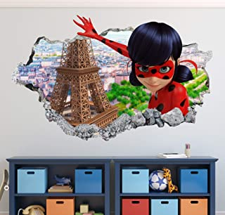 Miraculous Ladybug Wall Decal Art Decor 3D Smashed Sticker Mural Kids Gift Large HA19 (30