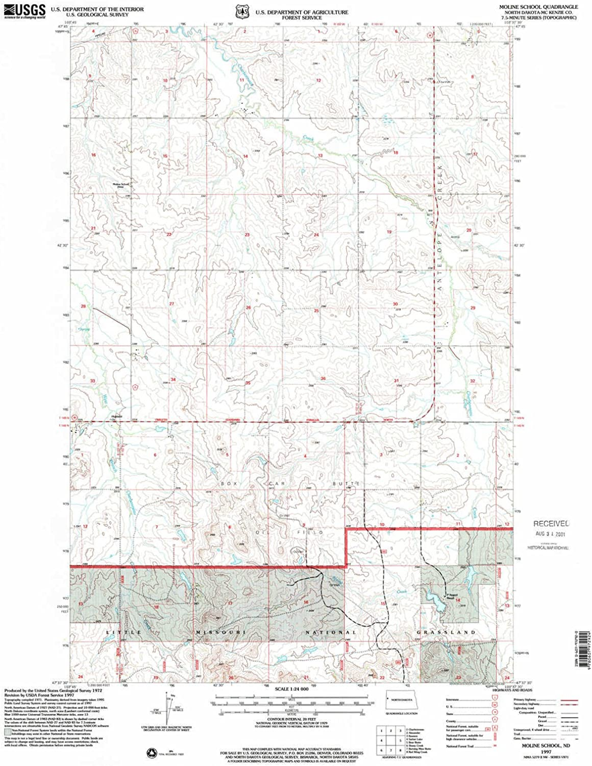 Moline School ND topo map, 1 24000 Scale, 7.5 X 7.5 Minute, Historical, 1997, Updated 2001, 27.1 x 22.1 in