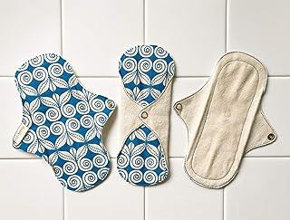 軽い日用3枚セット 南インド「Eco Femme」布ナプキン 洗えるオーガニックコットン(肌面無漂白)防水あり・内側に3層のフランネル使用