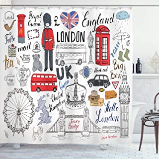 Ambesonne Doodle Shower Curtain, I Love London Double Decker Bus Telephone Booth Cab Crown of United Kingdom Big Ben, Cloth Fabric Bathroom Decor Set with Hooks, 75