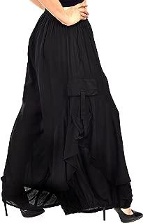 Women Loose Fit Elastic Waist Boho Wide Leg Palazzo Pants