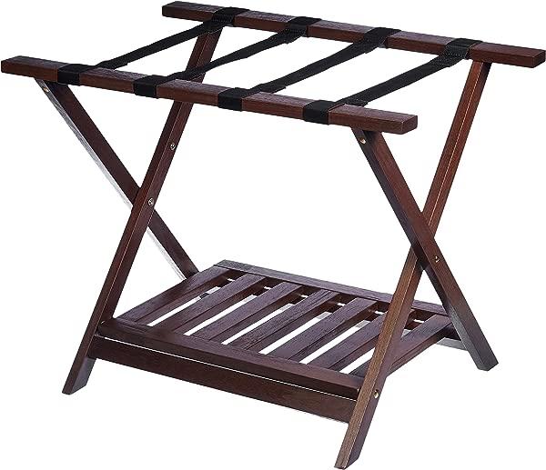 AmazonBasics Wooden Folding Suitcase Luggage Rack Stand With Shelf Espresso