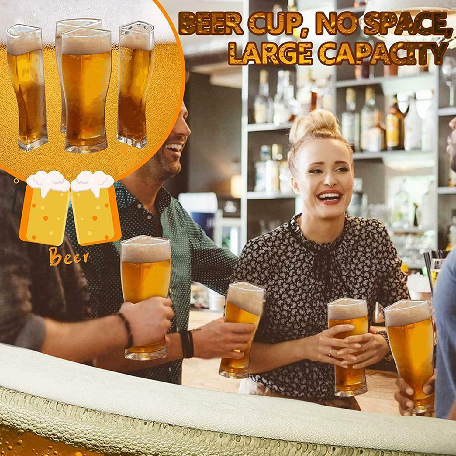 4 in 1 Acrylic Plastic Material Friends Party Holiday Birthday Drink Beer Mug 1pcs Super Schooner Designed to Let You Easily Carry 4 Beer Glasses at Once
